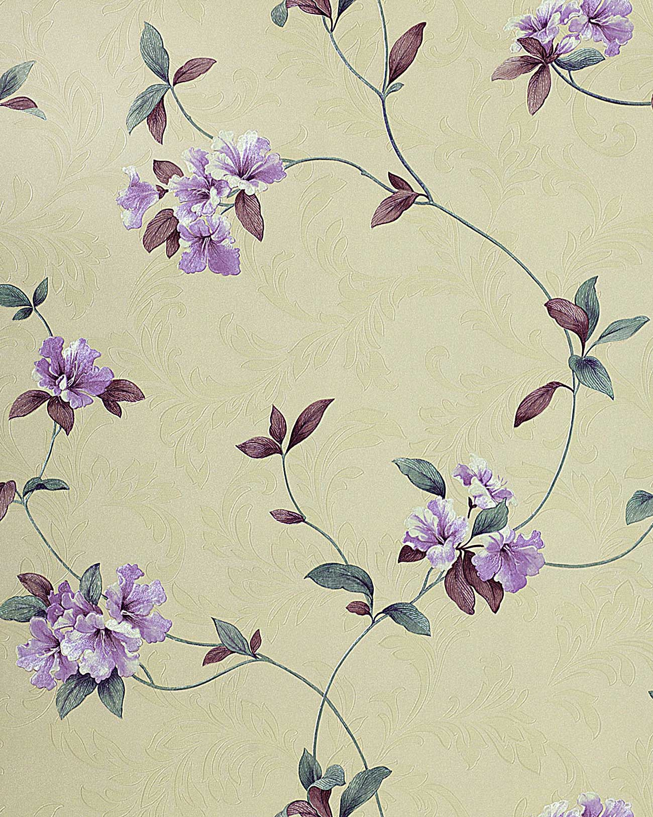 Orientalische Tapete Bestellen : Purple Floral Wallpaper Beige Cream