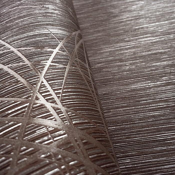 Gestreifte Tapeten Kombinieren : Brown and Silver Metallic Wallpaper