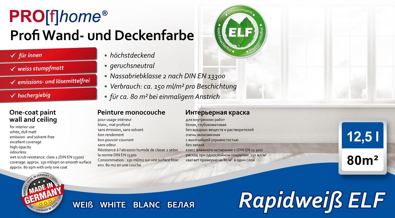 Wandfarbe PROFHOME Rapidweiß Profi-Innenfarbe Weiß 12,5 L