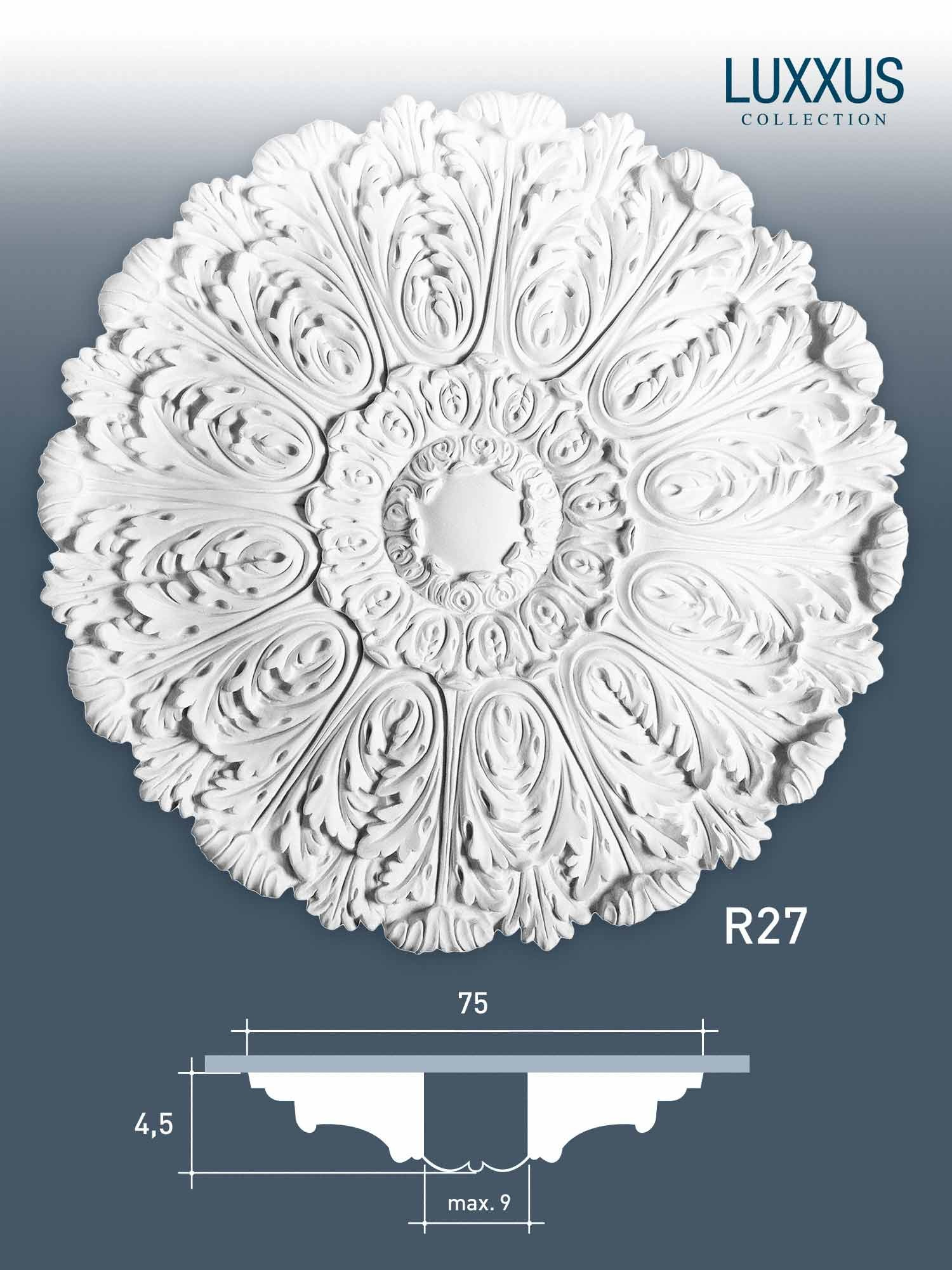 orac decor r27 luxxus deckenrosette stuck rosette akanthus blatt dekor 75 cm ebay. Black Bedroom Furniture Sets. Home Design Ideas