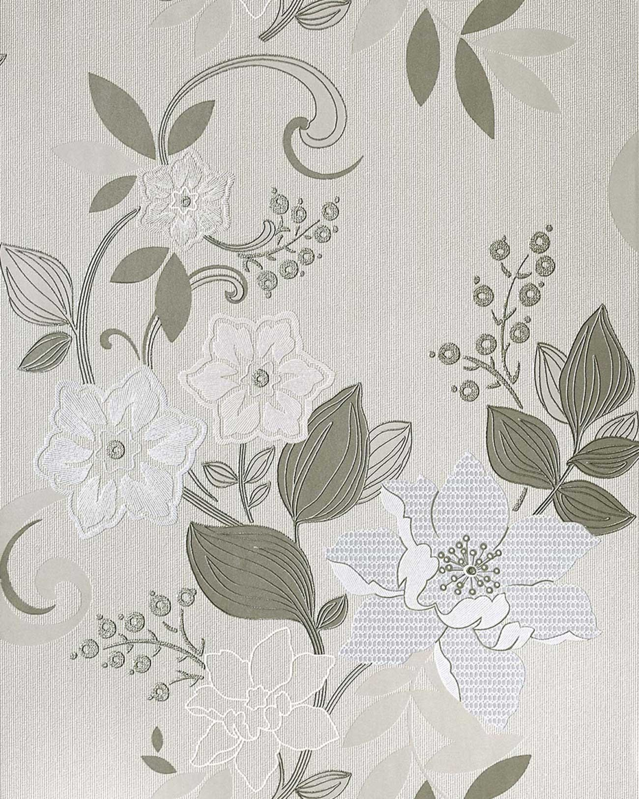 Vliestapeten Zum Streichen : Grey Pink Cream Flower Wall Covering