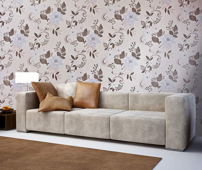 tapete wohnzimmer braun:Cream Wall Covering with White Flowers