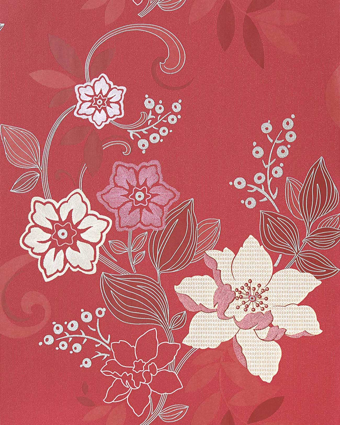 Asiatische Blumen Tapete : Red and Silver Wallpaper Designs