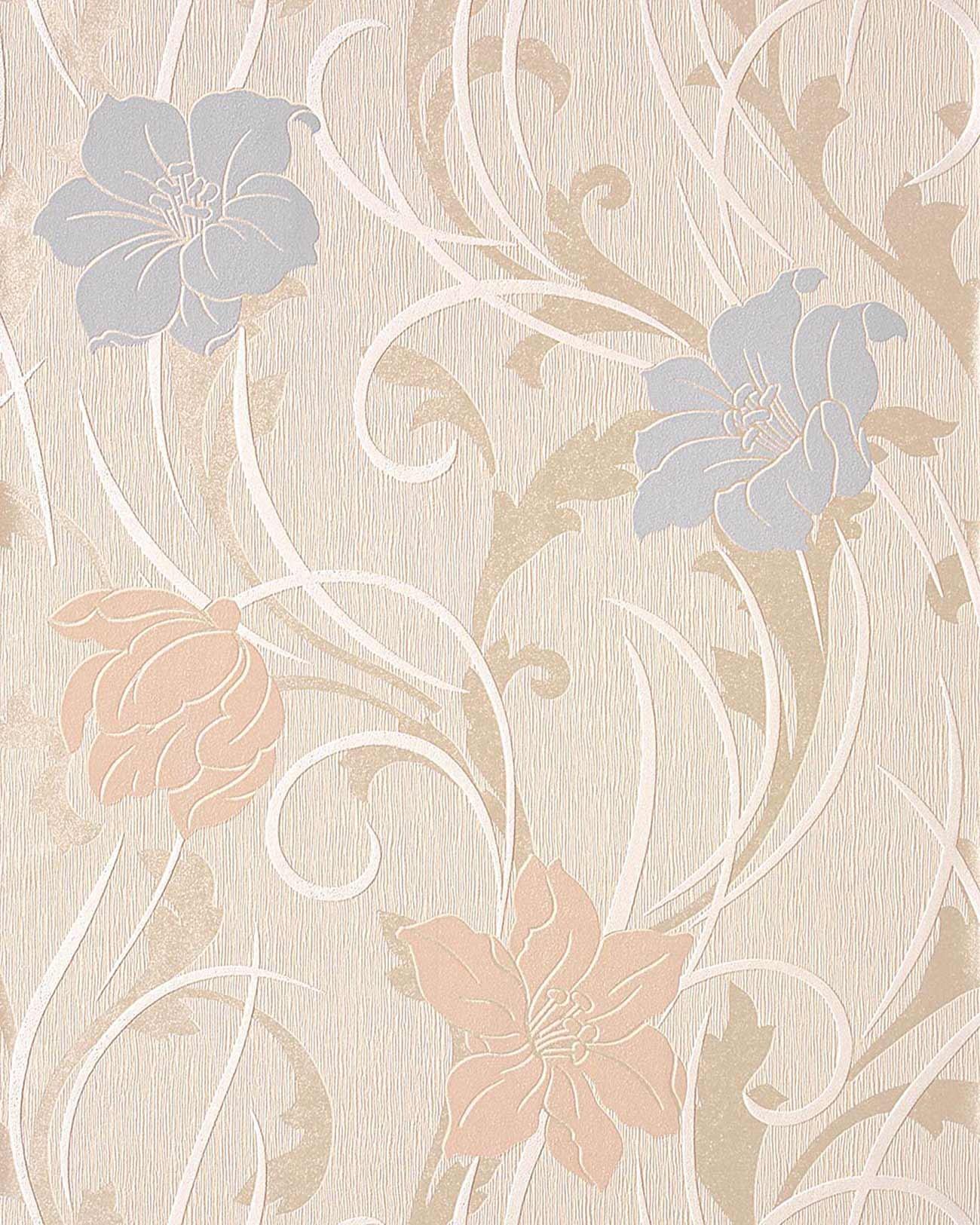 Edem 111 33 stilvolle blumen floral tapete creme beige for Beige tapete