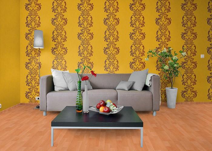 Tapeten Orange Gestreift : -21 Uni-Tapete gestreift gute Laune Farbe gelb-orange perlmutt-akzent