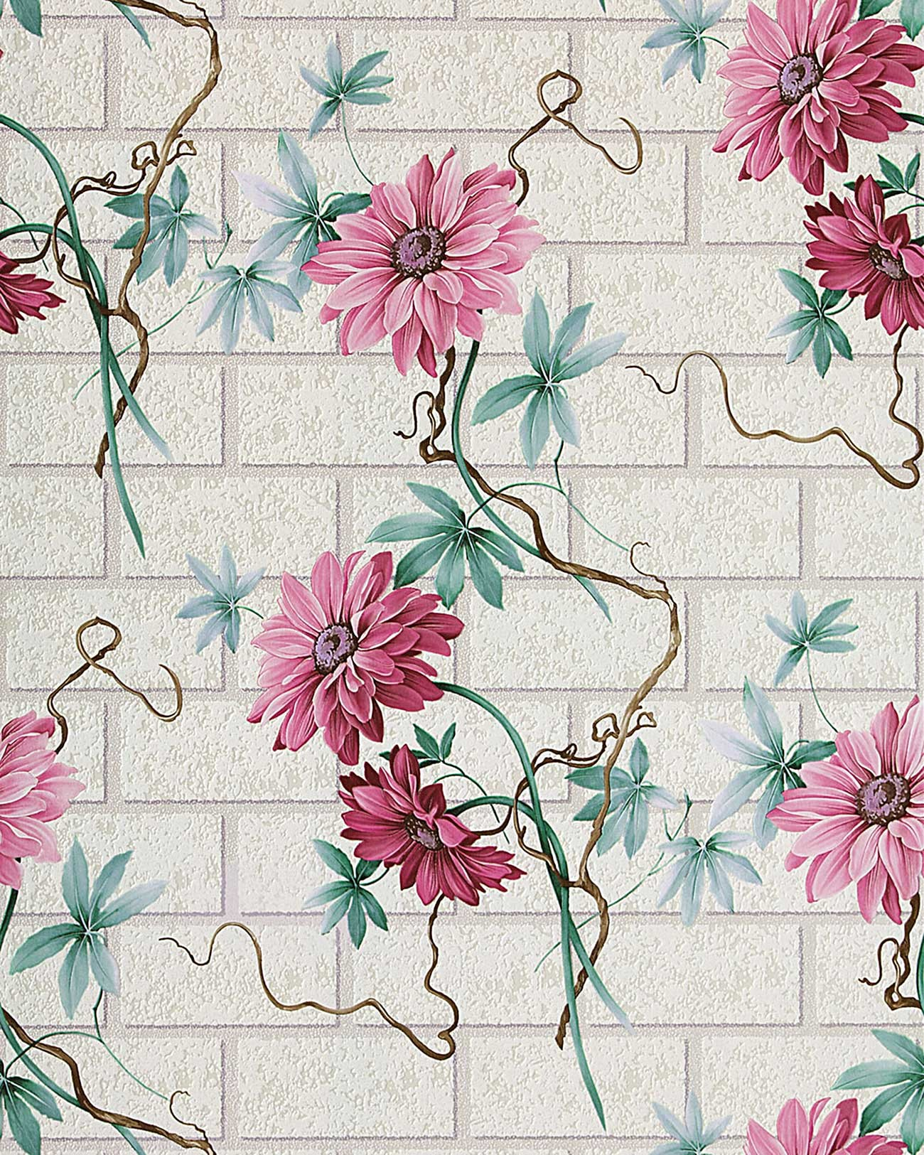 Rasch Tapeten Rosenmuster : Turquoise and Pink Flower Wall Paper